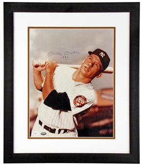 """Mickey Mantle Autographed New York Yankees Framed Photo With """"1952"""" Inscription (JSA)"""