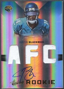 2012 Absolute #217 Justin Blackmon Rookie Premiere Materials Jersey Auto #24/49
