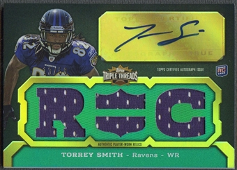 2011 Topps Triple Threads #101 Torrey Smith Emerald Rookie Jersey Auto #13/50