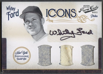 2011 Prime Cuts #15 Whitey Ford Icons Materials Trios Signatures Jersey Auto #04/10