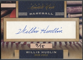 2011 Donruss Limited Cuts #345 Willis Hudlin Cut Auto #09/15
