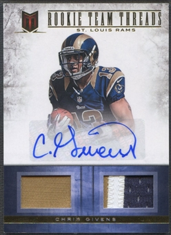 2012 Momentum #20 Chris Givens Rookie Team Threads Dual Jersey Patch Auto #11/15