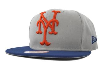New York Mets New Era 9Fifty Gray Grand Redux Flat Brim Snapback Hat (Adult One Size)