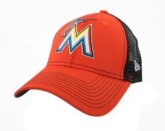 Miami Marlins New Era 9Forty Orange Bold Mesher Adjustable Hat (Adult OSFA)