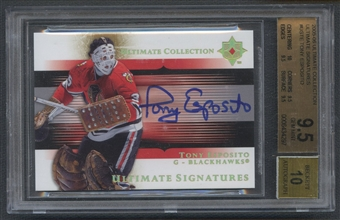 2005/06 Ultimate Collection #USTE Tony Esposito Ultimate Signatures Auto BGS 9.5