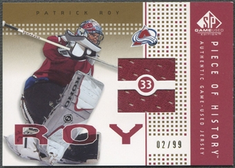 2002/03 SP Game Used #PHRY Patrick Roy Piece of History Gold Jersey #02/99