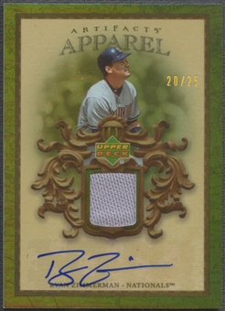 2007 Artifacts #RZ Ryan Zimmerman MLB Apparel Jersey Auto #20/25