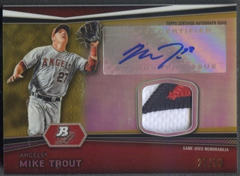 2012 Bowman Platinum #MT Mike Trout Gold Refractor Patch Auto #25/50