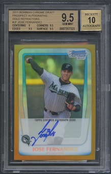 2011 Bowman Chrome Draft Prospect #JF Jose Fernandez Gold Refractor Rookie Auto #20/50 BGS 9.5