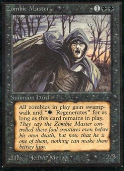 Magic the Gathering Beta Single Zombie Master - MODERATE PLAY (MP)