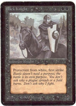 Magic the Gathering Alpha Single Black Knight - MODERATE PLAY (MP)