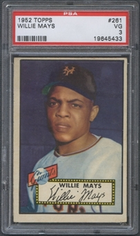 1952 Topps Baseball #261 Willie Mays PSA 3 (VG) *5433