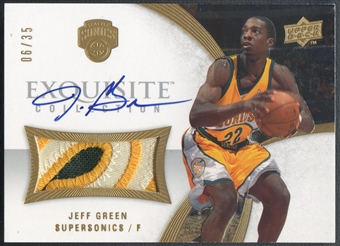 2007/08 Exquisite Collection #EAJG Jeff Green Rookie Patch Auto #06/35
