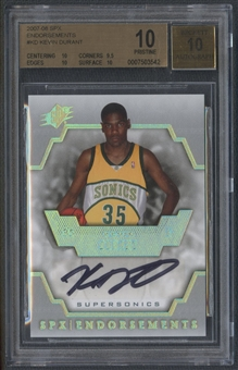2007/08 SPx #KD Kevin Durant Endorsements Rookie Auto BGS 10