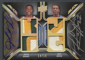 2008/09 UD Black #DPADG Kevin Durant & Jeff Green Dual Patch Auto #14/15