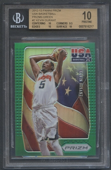 2012/13 Panini Prizm #2 Kevin Durant USA Basketball Prizms Green BGS 10