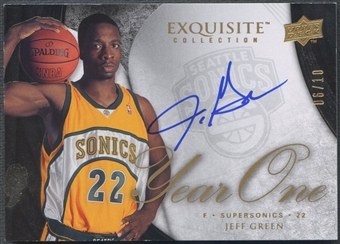 2007/08 Exquisite Collection #Y1JG Jeff Green Year One Rookie Auto #06/10