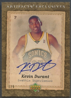 2007/08 Artifacts #223 Kevin Durant Artifacts Exclusives Rookie Auto #1/5