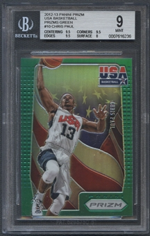 2012/13 Panini Prizm #10 Chris Paul USA Basketball Prizms Green BGS 9