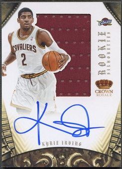 2012/13 Panini Preferred #327 Kyrie Irving Rookie Silhouettes Jersey Auto #28/99