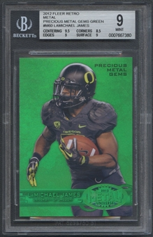2012 Fleer Retro Metal #M60 LaMichael James Precious Metal Gems Green #10/10 BGS 9