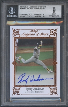 2012 Leaf Legends of Sport #BARH1 Rickey Henderson Auto BGS 9