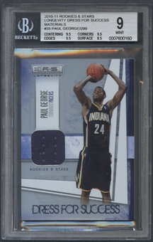 2010/11 Rookies and Stars Longevity #35 Paul George Dress for Success Rookie Jersey #239/299 BGS 9