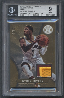 2012/13 Totally Certified #30 Kyrie Irving Rookie Gold Materials Prime Patch #07/10 BGS 9