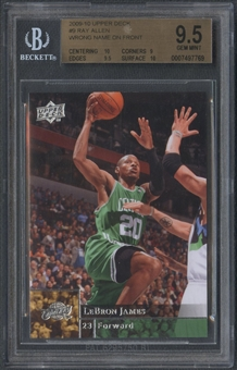 2009/10 Upper Deck #9 Ray Allen Error Lebron James Name on Front BGS 9.5