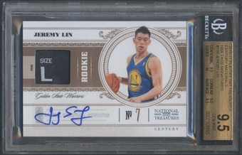 2010/11 Playoff National Treasures #194 Jeremy Lin Century Materials NBA Tags Rookie Patch Auto #1/1 BGS 9.5