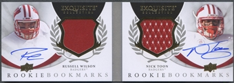 2012 Exquisite Collection #RBMRN Russell Wilson & Nick Toon Rookie Bookmark Jersey Auto #03/50