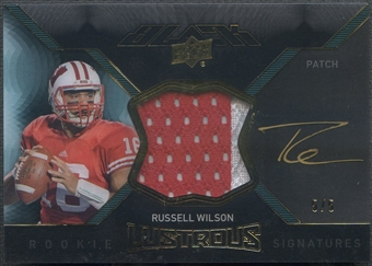 2012 UD Black #BRL14 Russell Wilson Lustrous Rookie Patch Auto #5/5
