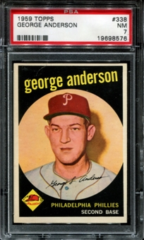 1959 Topps Baseball #338 Sparky Anderson Rookie PSA 7 (NM) *8576