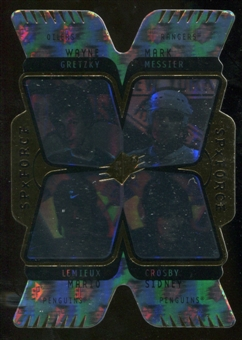 2007/08 Upper Deck SPx Force Quad Holograms #F1 Mario Lemieux/Sidney Crosby/Wayne Gretzky/Mark Messier