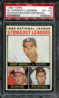 1964 Topps Baseball #5 NL Strikeout Leaders PSA 8 (NM-MT) *0235