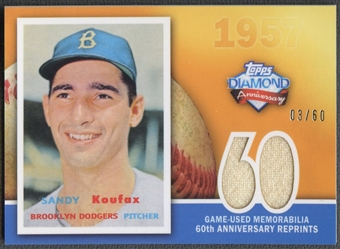 2011 Topps #SK Sandy Koufax 60th Anniversary Reprint Relics Jersey #03/60