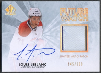 2011/12 SP Authentic #275 Louis Leblanc Limited Rookie Patch Auto #045/100