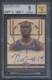 2012/13 Panini Threads #158 Kemba Walker Rookie Auto BGS 9
