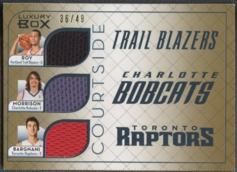 2007/08 Topps Luxury Box #RMB Brandon Roy Adam Morrison Andrea Bargnani Courtside Triple Gold Jersey #36/49