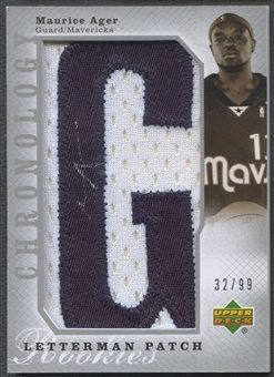"""2006/07 Chronology #121 Maurice Ager Rookie Patch Letter """"G"""" Auto #32/99"""