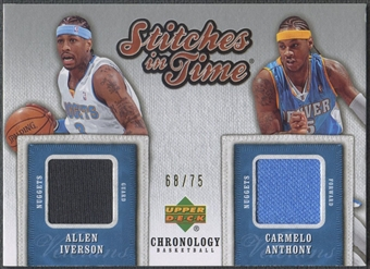 2006/07 Chronology #SITDIA Allen Iverson & Carmelo Anthony Stitches in Time Dual Jersey #68/75
