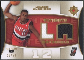 2007/08 Ultimate Collection #LA LaMarcus Aldridge Materials Gold Jersey #28/50