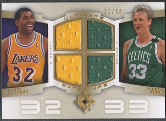 2007/08 Ultimate Collection #JB Magic Johnson & Larry Bird Matchups Gold Jersey #21/50