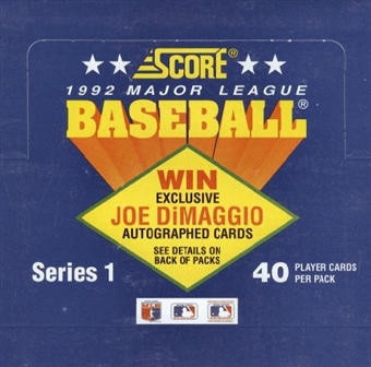 1992 Score Series 1 Baseball Cello Box