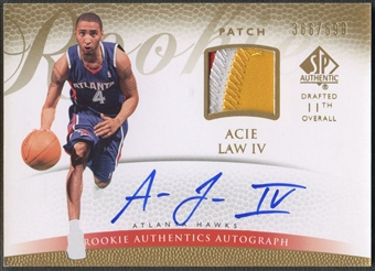 2007/08 SP Authentic #123 Acie Law Rookie Patch Auto #366/599