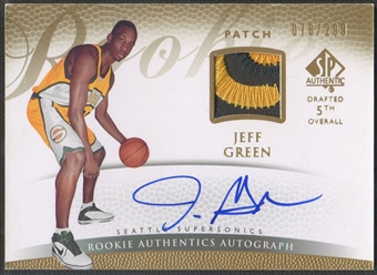 2007/08 SP Authentic #155 Jeff Green Rookie Patch Auto #078/299