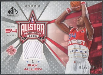 2006/07 SP Game Used #RA Ray Allen All-Star Memorabilia Jersey #019/100