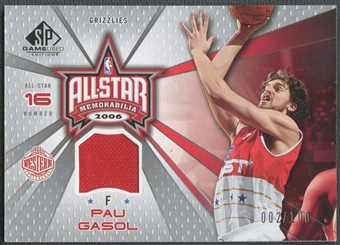 2006/07 SP Game Used #PG Pau Gasol All-Star Memorabilia Jersey #002/100
