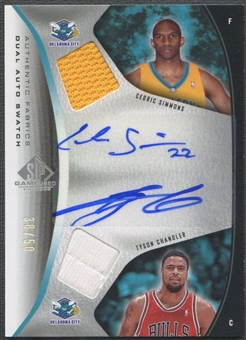 2006/07 SP Game Used #SC Tyson Chandler & Cedric Simmons Authentic Fabrics Dual Jersey Auto #38/50