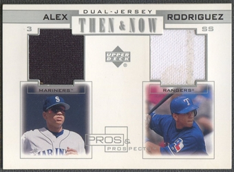 2001 Upper Deck Pros and Prospects #TNAR Alex Rodriguez Then and Now Game Jersey